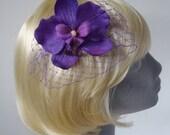 Purple Flower Hair Comb, Purple Orchid Hair Comb (Curly), Purple Hair Flower, Purple Hair Orchid, Purple Hair Accessory