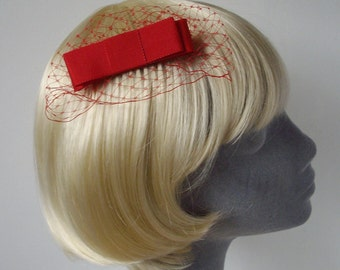 Red Bow  Hair Comb- Red Bow  Haircomb