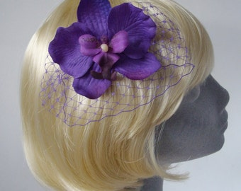 Purple Flower Hair Comb- Purple Orchid Hair Comb (Curly)