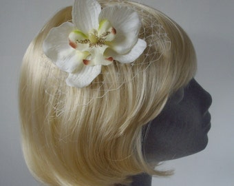 Ivory-Green Flower Hair Comb- Ivory-Green Orchid Hair Comb