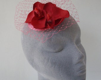 Pink Fascinator- Raspberry Pink Flower (Orchid) -Small