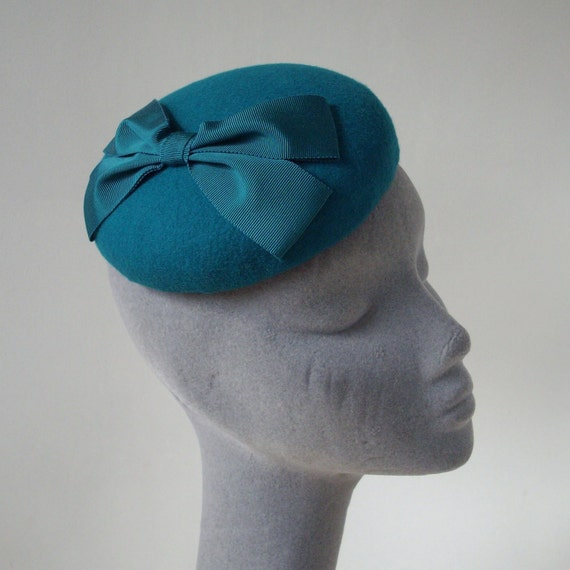 Turquoise Felt Hat with Ribbon Bow
