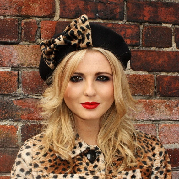 Black Hat- Black Beret Hat with Leopard Fake Fur Bow