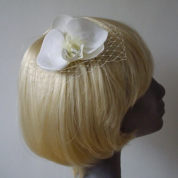 Ivory Flower Hair Comb- Ivory Orchid Hair Comb