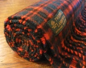 Vintage British red pure wool tartan scarf