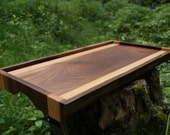 Handmade Walnut Cherry Wood Serving Tray Bed Ottoman