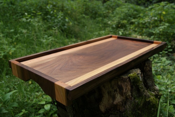 Items similar to handmade walnut cherry wood serving tray