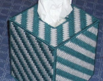 Tissue Box Cover Teal and Grey