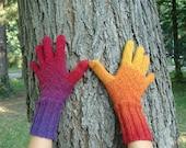 Handknitted Wool Gloves Kauni EQ Multicolor Rainbow, Regenbogen - Handschuhe, handgestrickt aus Kauni EQ Wolle, designed by dodofit on Etsy
