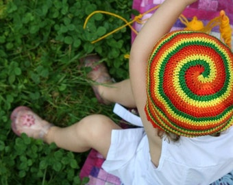 Crochet Sun Spiral Hat. Summer Cotton Hat. Sun Protection Beanie. Colored Kid Hat by dodofit on Etsy