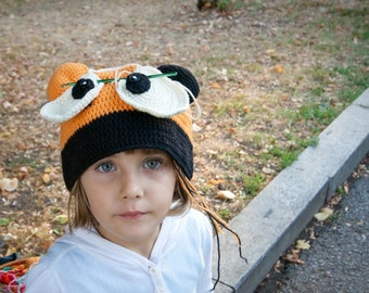 Funny Crochet Bear Hat Christmas Gift Costumes for Kids Orange Black Vanilla Fall Autumn Winter designed by dodofit on Etsy