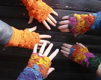 Wool Fingerless Mittens. Winter Wrist Warmers. Crochet Fingerless Gloves. Multicolored Woman Mitts. Orange Red Blue Violet by dodofit