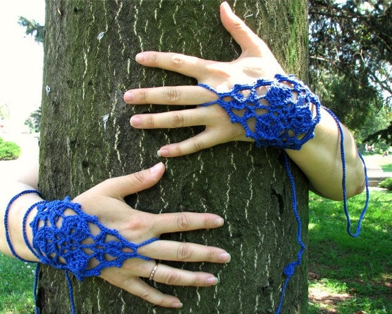 Dual-use Barefoot Sandals Fingerless Mittens Crochet Accessories Yoga Hippie Boho Blue Spring Summer Beach Dance by dodofit on Etsy