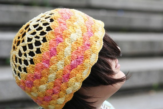 Crochet Hat in Pink, Orange, Yellow Earth Tones Nature Batik Autumn Fashion Accessory Gift for Her Apparel Designed by dodofit on Etsy