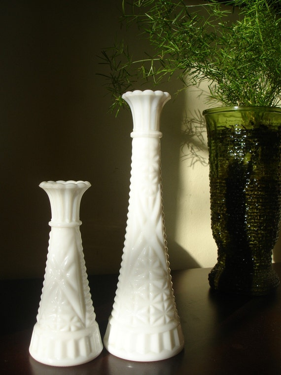 Vintage Milk Glass Vase Set