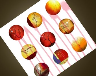 WARM- Abstract Landscape Images- Instant Download. Printable Collage Sheet - 1 Inch Circles for Glass Pendants, Magnets and More.