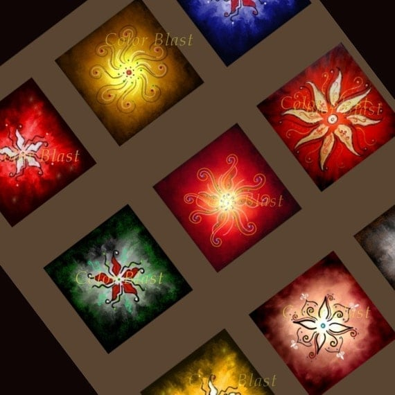 INDIART- Rangoli Art- INSTANT DOWNLOAD Collage Sheet - 1 x 1 inch for Glass Pendants, Magnets etc.