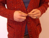Nubbly Snuggly Red Wool Grandpa Cardigan