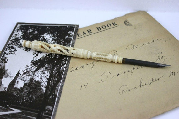 Antique French Ivory Dip Pen and Pencil with Small View Finder Reveals Paris