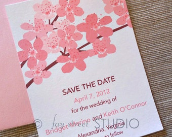 Save the Date Wedding Card, Cherry Blossoms