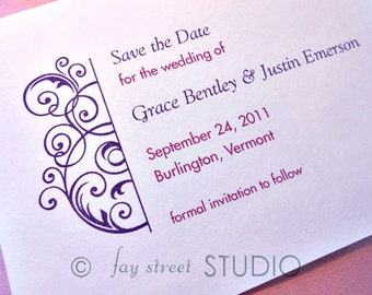 Save the Date Wedding Card, Swirls