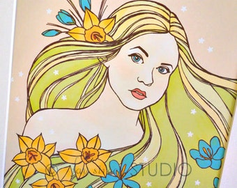 Fashion Fantasy Art Print Spring Flowers 8x10, Matted to 11x14