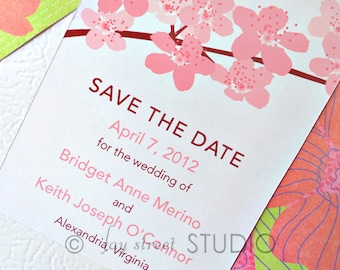 Save the Date Magnet, Wedding Card, Cherry Blossoms