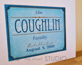 Customizable Family Name Wall Art 8x10, Matted to 11x14 - Choose Your Colors