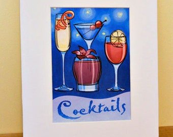 Cocktails Art Print, 5x7, Matted to 8x10
