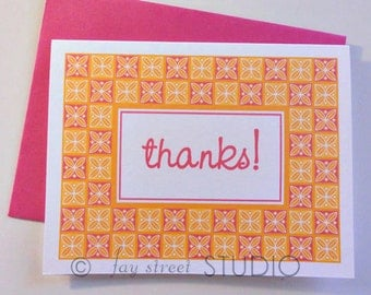 Thank You Notes / Thank You Cards / Children's Stationery, Pink Orange Checkered, 10-Count