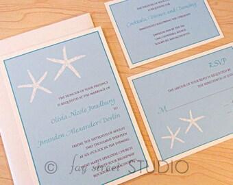 Wedding Invitation Suite / Nautical Beach Wedding Invitations, Starfish - Deposit