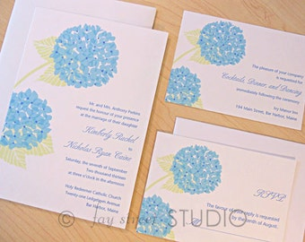 Wedding Invitation Suite / Hydrangeas Modern Wedding Invitations - Deposit