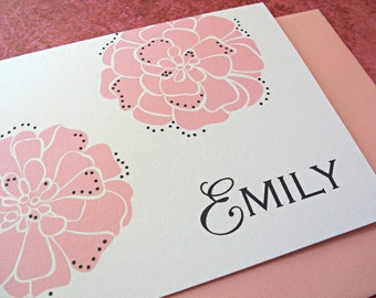 Personalized Stationery Set, Personal Stationery, Marigolds, Mustard, Icicle Blue or Candy Pink, 25-Count
