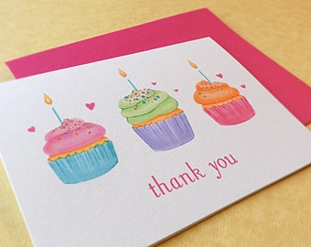Cupcake Thank You Notes / Birthday Thank You Cards / Cupcake Thank You Cards, 10-Count