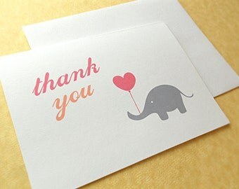 Elephant Thank You Cards / Baby Shower Thank You Cards / Baby Shower Thank You Notes, Pink and Peach, 10-Count