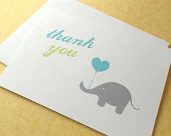 Elephant Thank You Cards / Baby Shower Thank You Cards / Baby Shower Thank You Notes, Blue and Green, 10-Count