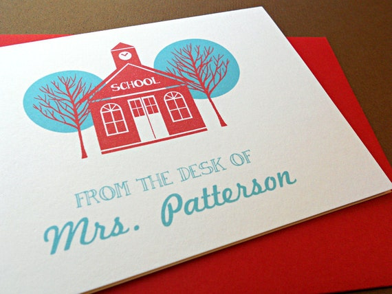 Teacher Gift, Personalized Stationery Set, Personal Stationery, Little Schoolhouse, 10-Count
