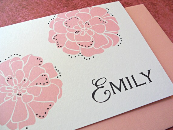 Personalized Stationery Set, Personal Stationery, Marigolds, Mustard, Icicle Blue or Candy Pink, 10-Count