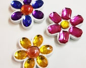 Flower Power Mosaic Gem Magnets - Set of 3