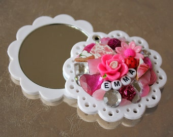 "Scalloped ""Personalized"" Mosaic Compact Mirror"