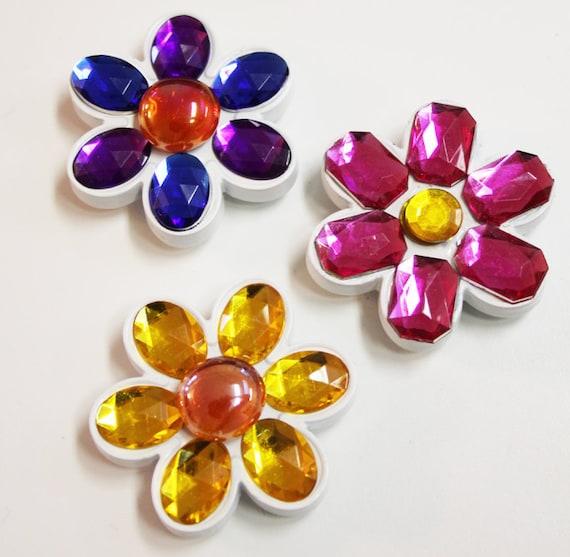 Flower Power Mosaic Gem Magnets - Set of 3