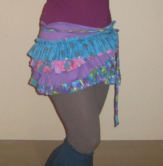 SALE - La Salsa Faerie Bustle Wrap Skirt - corset utility pocket over skirt - free size, ooak, ruffled, purple teal