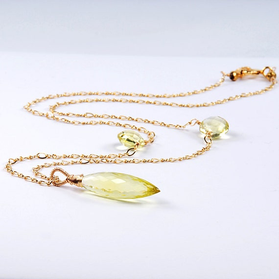 Lemon Citrine Drop Pendant,  November Birthstone Necklace