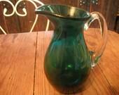 VINTAGE GLASS JUG, sea green, Venetian