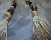VINTAGE TASSLE EARRINGS, ivory, crystals, diamante, 1980s