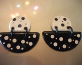 VINTAGE EARRINGS, 1980s, black and white, polka dots