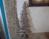 sale- WICKER  and METAL TREE, 80 cm high, sculpture, modern, home decor, Christmas tree, jewelry storage, display