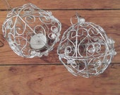 VINTAGE TEA LIGHT holders, set of 2, metal wire with beads, Christmas, festive, party