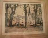S.A.L.E--antique ANDREW SIMES, etching of La Dauphine, Franschoek, Cape, South Africa
