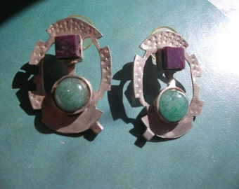 Sterling silver earrings with semi-precious stones